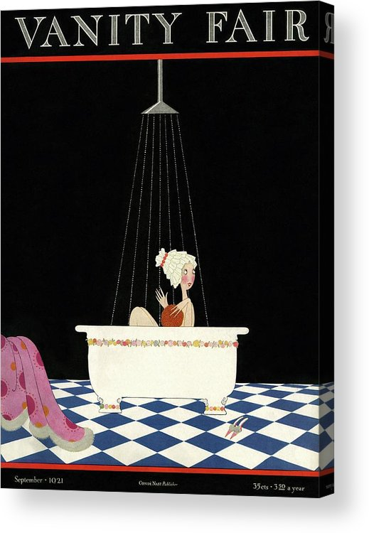 Illustration Acrylic Print featuring the photograph Vanity Fair Cover Featuring A Woman In A Bathtub by A. H. Fish