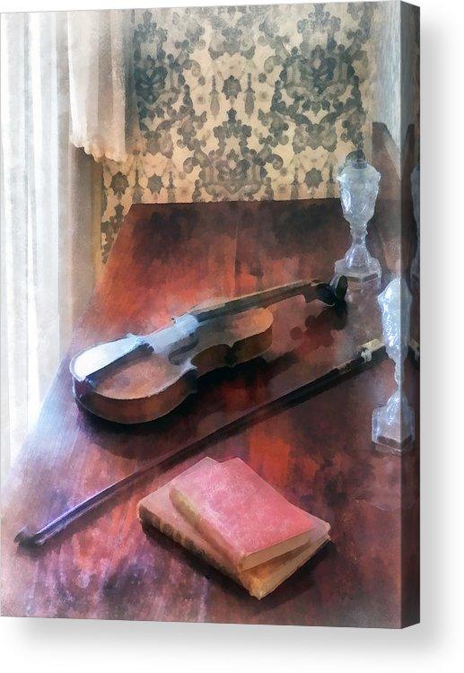 Violin Acrylic Print featuring the photograph Violin On Credenza by Susan Savad