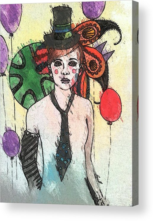 Clown Acrylic Print featuring the painting Water Clown by Amy Sorrell