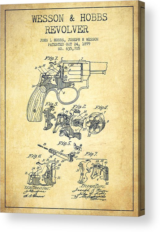 Revolver Acrylic Print featuring the digital art Wesson Hobbs Revolver Patent Drawing From 1899 - Vintage by Aged Pixel