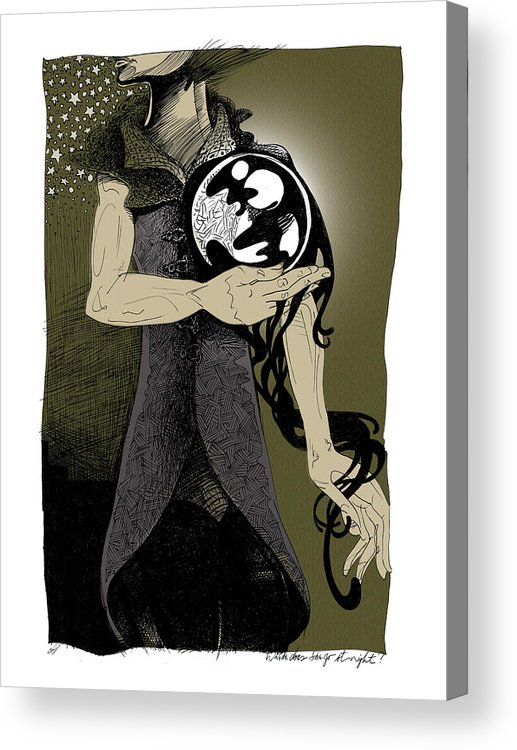 Mysterious Acrylic Print featuring the drawing Where Does She Go At Night? by Ch' Brown