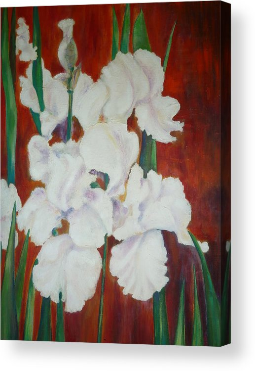 Flowers Acrylic Print featuring the painting White Irises by Cate Evans