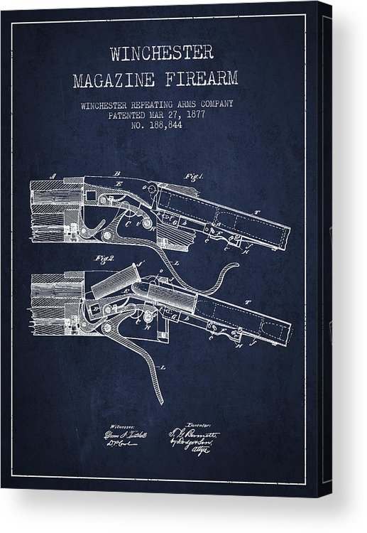 Winchester Acrylic Print featuring the digital art Winchester Firearm Patent Drawing From 1877 - Navy Blue by Aged Pixel