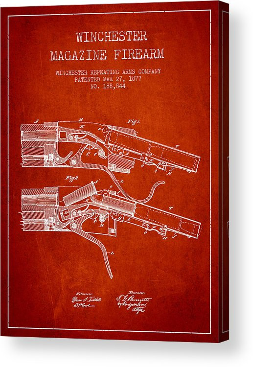 Winchester Acrylic Print featuring the digital art Winchester Firearm Patent Drawing From 1877 - Red by Aged Pixel