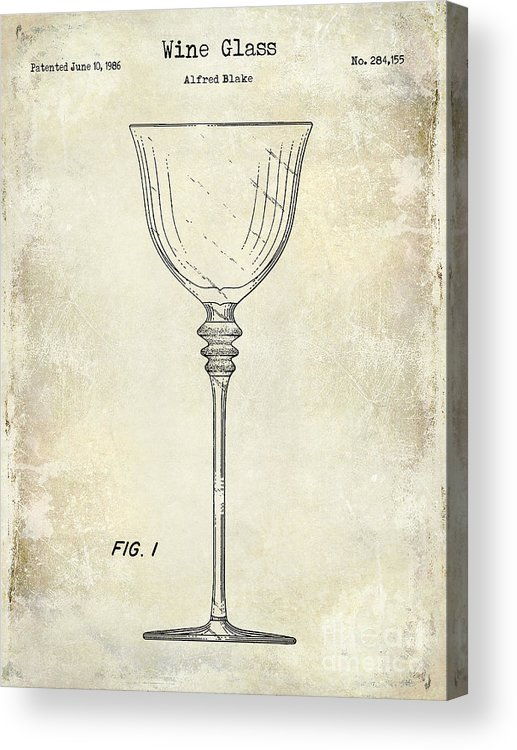 Wine Glass Patent Drawing Acrylic Print featuring the photograph Wine Glass Patent Drawing by Jon Neidert