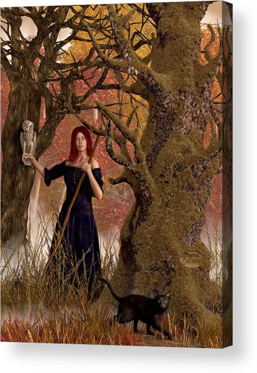 Autumn Acrylic Print featuring the digital art Witch Of The Autumn Forest by Daniel Eskridge