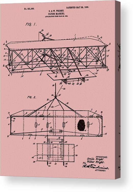 The Wright Brothers Airplane Patent Acrylic Print featuring the mixed media Wright Brothers Patent Red by Dan Sproul