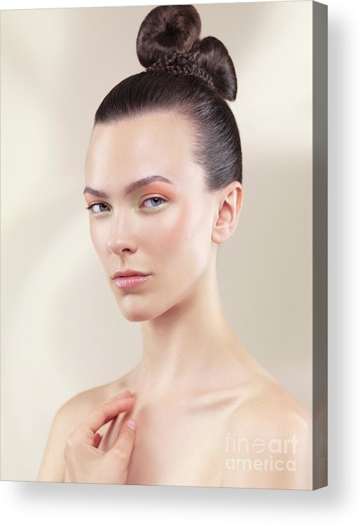 Beauty Acrylic Print featuring the photograph Beautiful Young Woman Portrait by Oleksiy Maksymenko