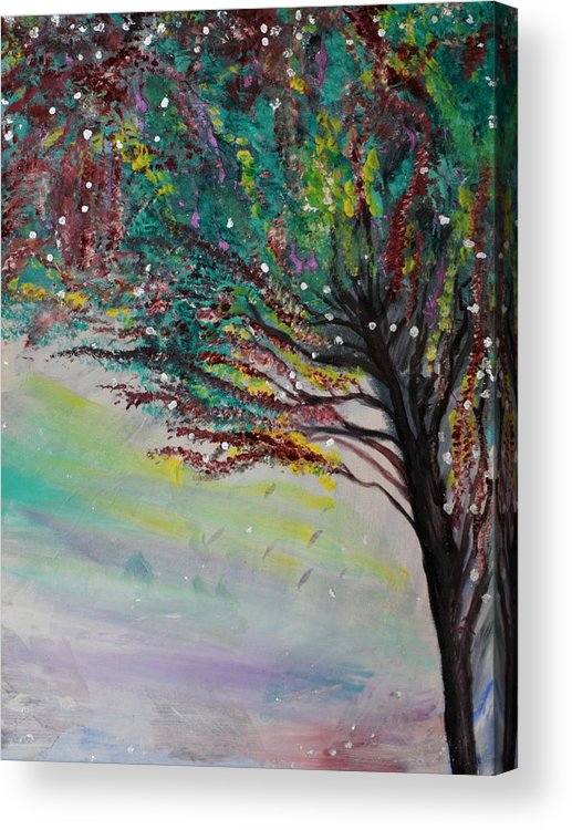 Trees Acrylic Print featuring the painting Change Of Falls' Sparkle by Tifanee Petaja