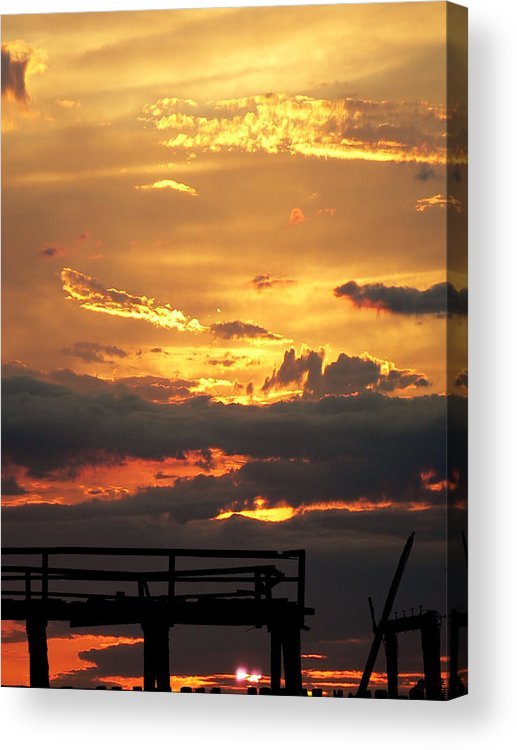 Ruined Acrylic Print featuring the photograph Destroyed Pier Sea Sunset by Aleksandr Volkov