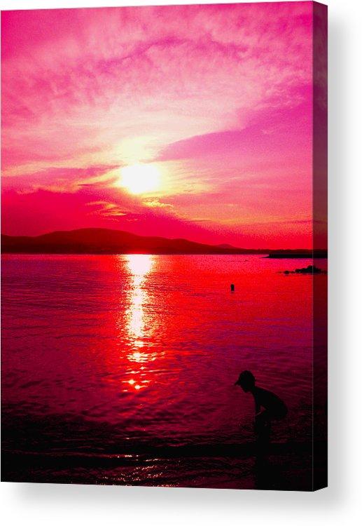 Sunset Acrylic Print featuring the digital art A Red Sea by Vasil Georgiev