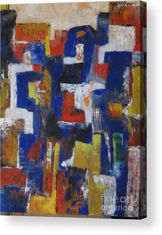 Oil On Canvas Acrylic Print featuring the painting Abstract1 by Nedunseralathan R