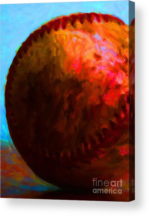 Baseball Acrylic Print featuring the photograph All American Pastime - Baseball Version 3 - Painterly by Wingsdomain Art and Photography