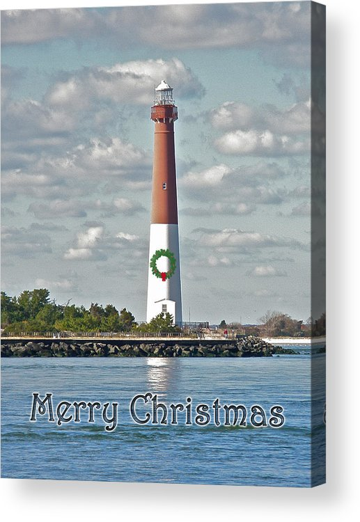 Christmas Acrylic Print featuring the photograph Barnegat Lighthouse - New Jersey - Christmas Card by Mother Nature