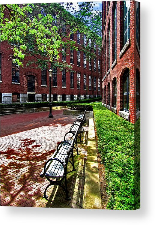 Building Acrylic Print featuring the photograph Boott Mill Courtyard by Mark Sellers