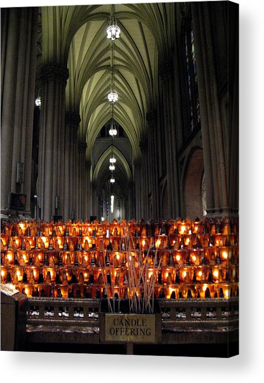 St. Patrick's Cathedral Acrylic Print featuring the photograph Candle Offering by Cornelis Verwaal