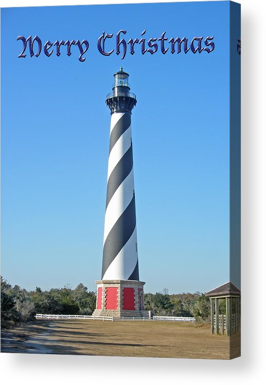 Christmas Acrylic Print featuring the photograph Cape Hatteras Lighthouse - Outer Banks - Christmas Card by Mother Nature