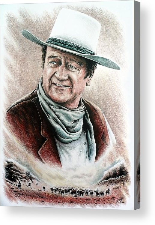 John Wayne Acrylic Print featuring the drawing Cattle Drive Color Edit 1 by Andrew Read
