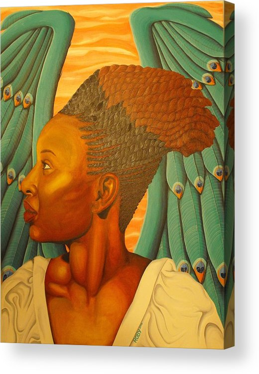Everyday Angels: African American Female Angel With Colorful Apple Green And Salmon Pink Wings Acrylic Print featuring the painting Dignity by William Roby