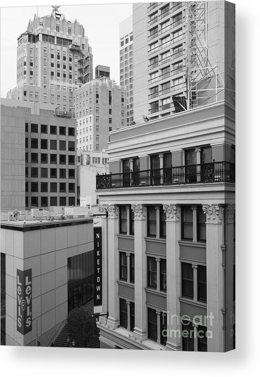 San Francisco Acrylic Print featuring the photograph Downtown San Francisco Buildings - 5d19323 - Black And White by Wingsdomain Art and Photography