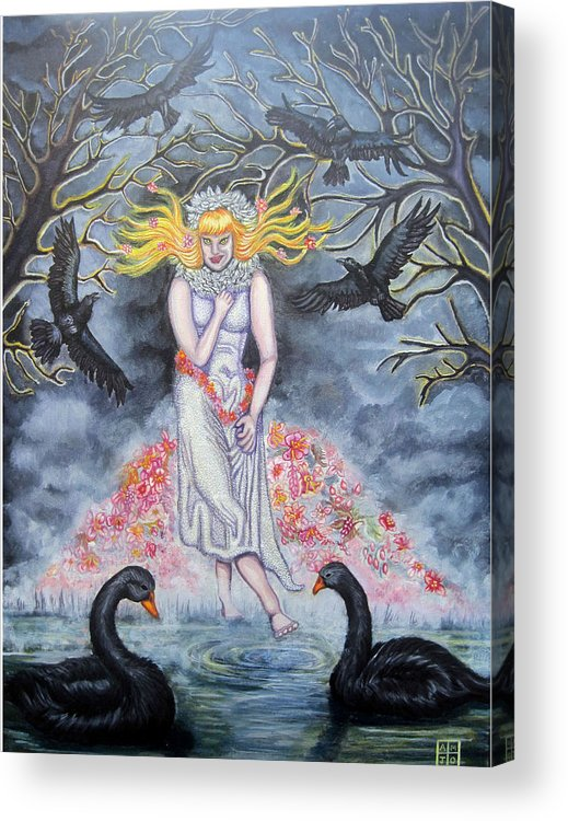 Trees Acrylic Print featuring the painting Fair Maiden by Amiee Johnson