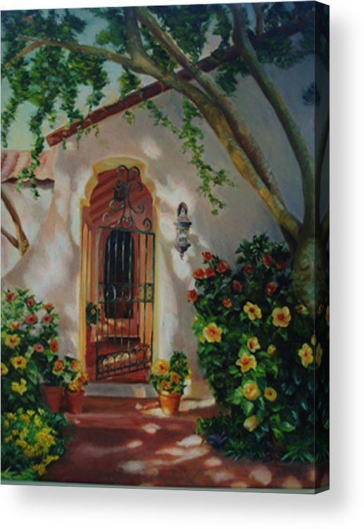 Garden Entry Acrylic Print featuring the painting Garden Entry by Lesley Paul