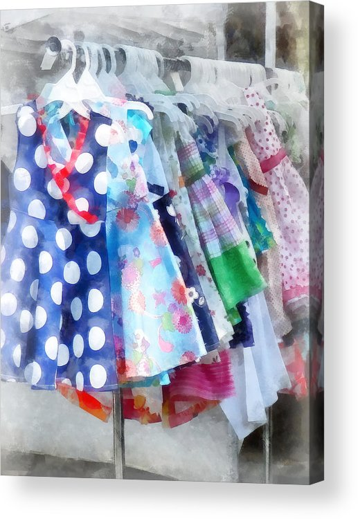 Fashion Acrylic Print featuring the photograph Girl's Dresses At Street Fair by Susan Savad