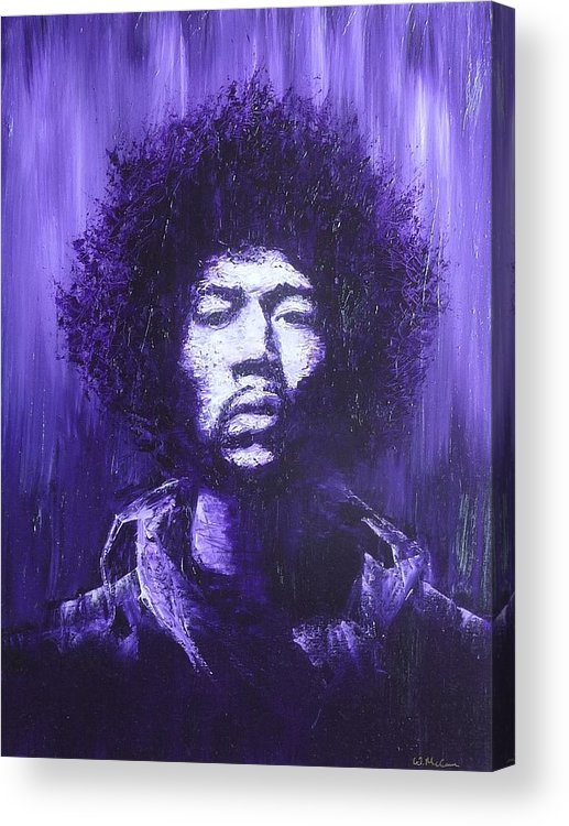 Jimi Hendrix Oil Painting Portrait Acrylic Print featuring the painting Hendrix by William McCann