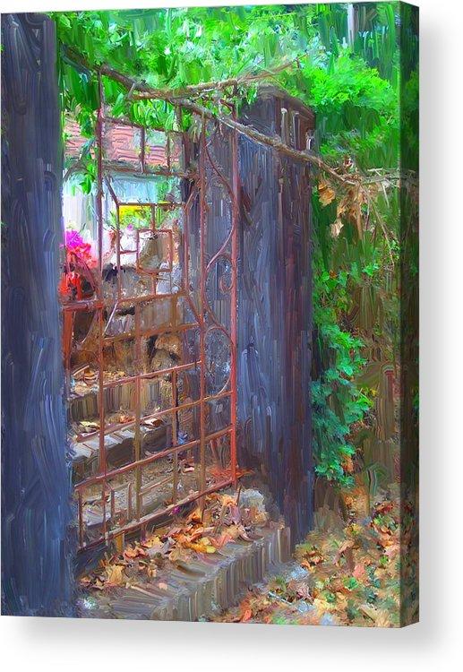 Gate Acrylic Print featuring the painting Iron Gate by Usha Shantharam