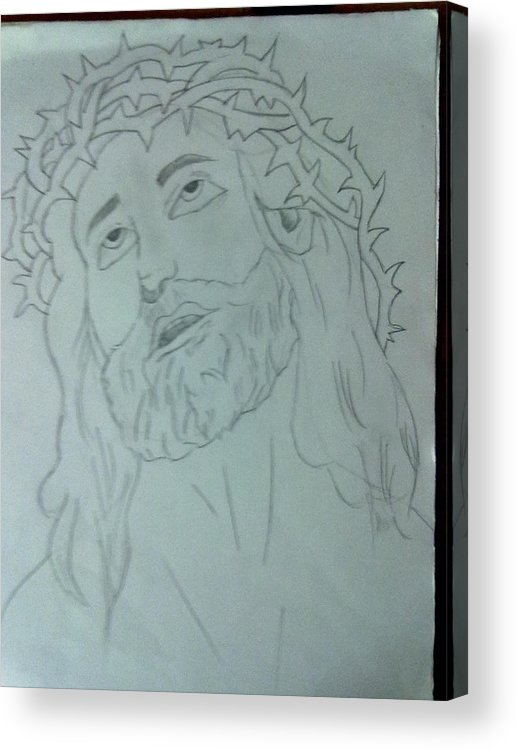 Jesus Acrylic Print featuring the drawing Jesus by Bishoy Girgis