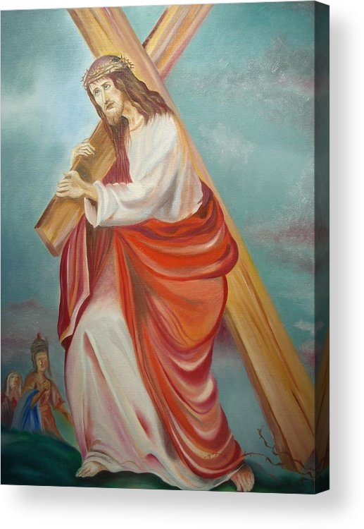 Jesus Acrylic Print featuring the painting Jesus by Prasenjit Dhar