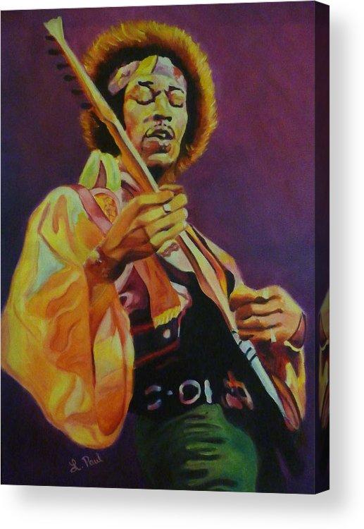 Jimi Hendrix Acrylic Print featuring the painting Jimi Hendrix by Lesley Paul