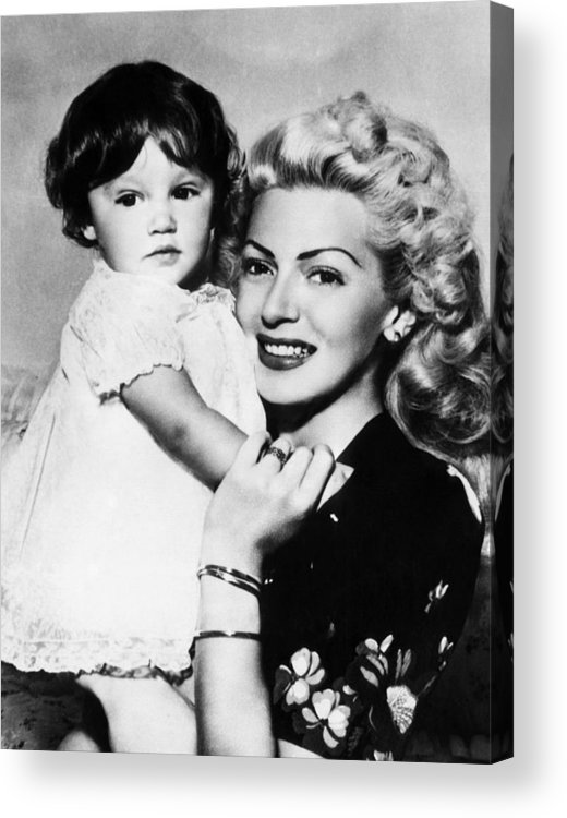 1940s Acrylic Print featuring the photograph Lana Turner Right, And Daughter Cheryl by Everett