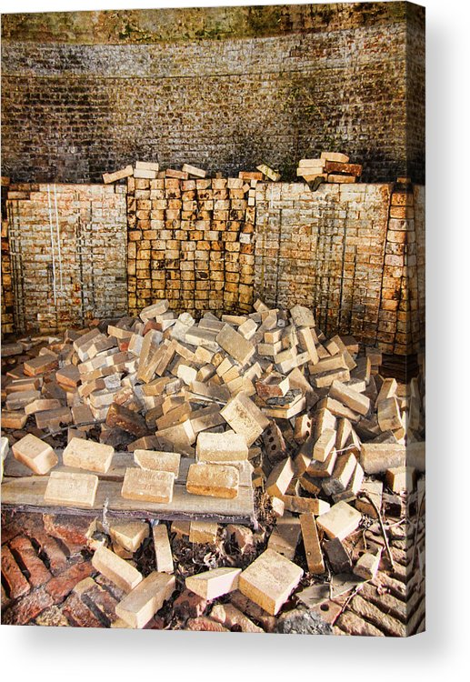 Antique Acrylic Print featuring the photograph Left Over Brick In Antique Brick Kiln by Kathy Clark