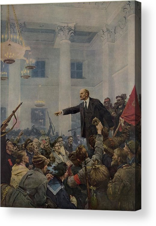 History Acrylic Print featuring the photograph Lenin 1870-1924 Declaring Power by Everett