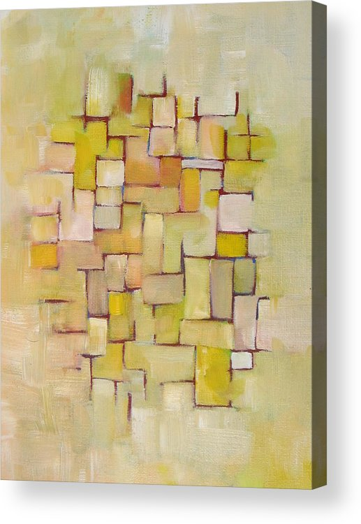 Abstract Acrylic Print featuring the painting Line Series Yellow Basket Weave by Patricia Cleasby