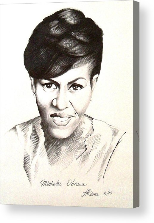 Portrait Acrylic Print featuring the painting Michelle Obama by A Karron
