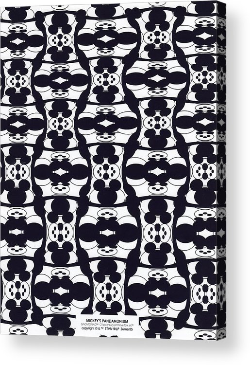 B&w Digital Line Art Acrylic Print featuring the digital art Mickey's Pandamonium by Steven Welp