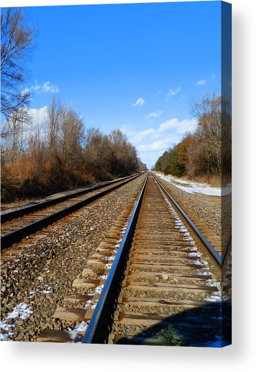 Digital Photography Train Tracks Cold Fall Trees Nature Sky Clouds Prints Posters Greeting Cards Acrylic Print featuring the mixed media Miles Away by Connie Dye