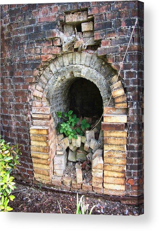 Brick Kiln Acrylic Print featuring the photograph Old Antique Brick Kiln Fire Box by Kathy Clark