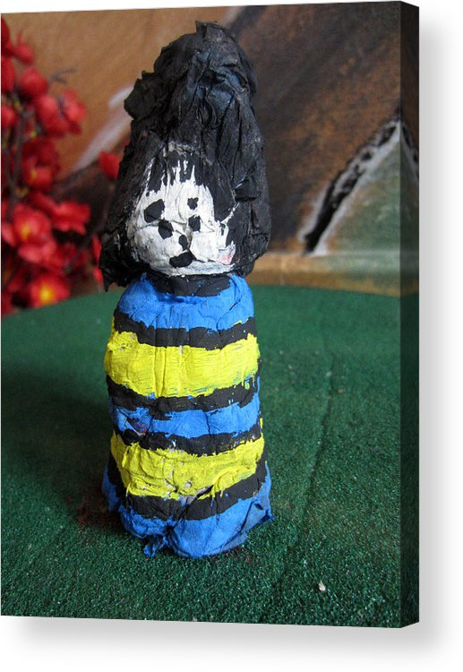 Acrylic Print featuring the sculpture Old Newspaper Doll 06 by David Wei