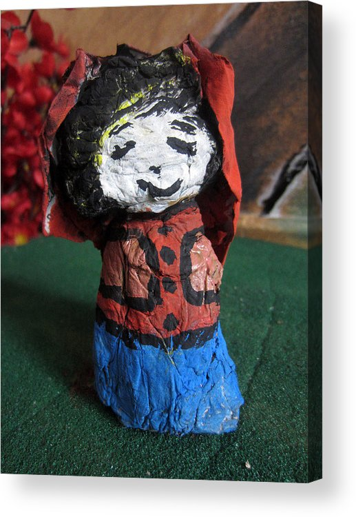 Acrylic Print featuring the sculpture Old Newspaper Doll 07 by David Wei