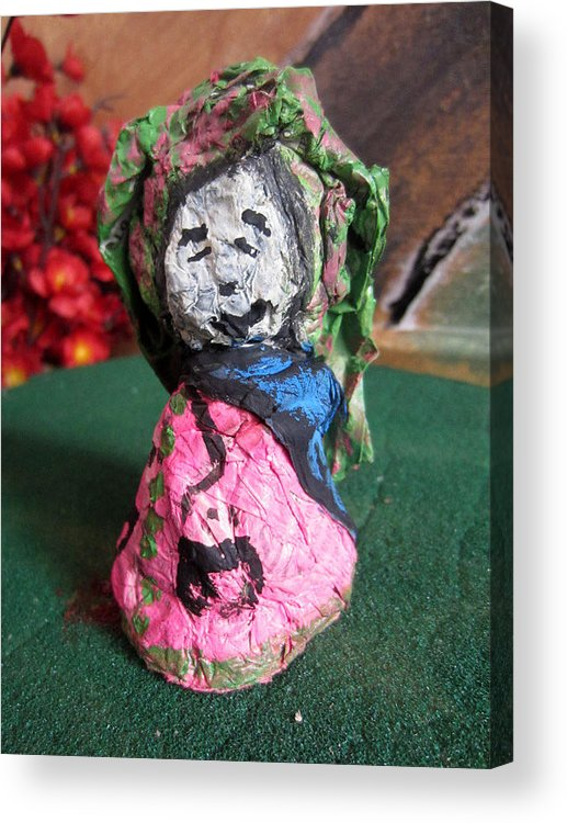 Acrylic Print featuring the sculpture Old Newspaper Doll 08 by David Wei
