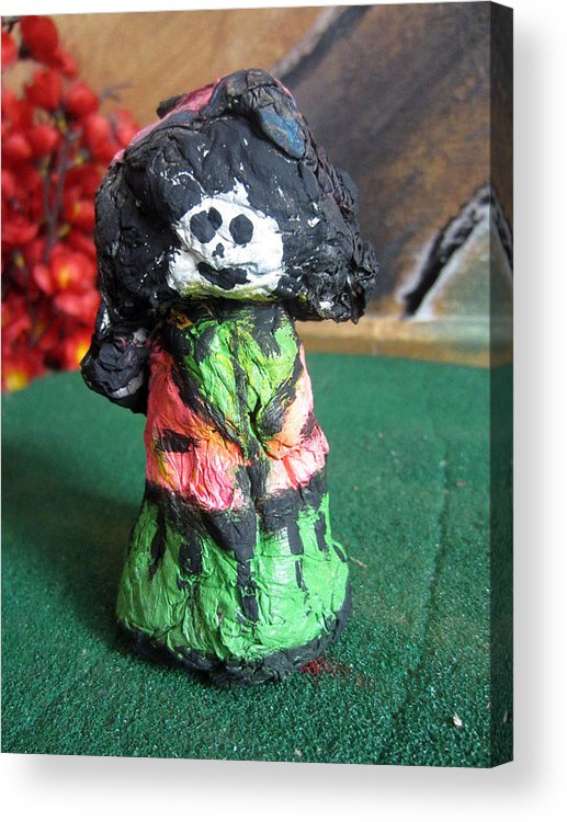 Acrylic Print featuring the sculpture Old Newspaper Doll 09 by David Wei