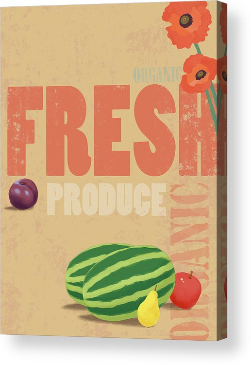 Vertical Acrylic Print featuring the digital art Organic Fresh Produce Poster Illustration by Don Bishop