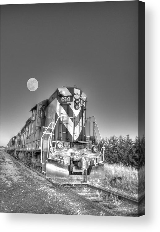 Railroad Acrylic Print featuring the photograph Pulling The Moon by HW Kateley
