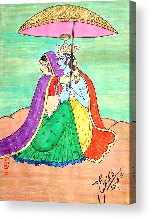 Radha Krishna  love Under Rain Acrylic Print