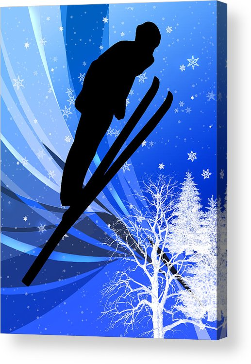 Ski Acrylic Print featuring the painting Ski Jumping In The Snow by Elaine Plesser