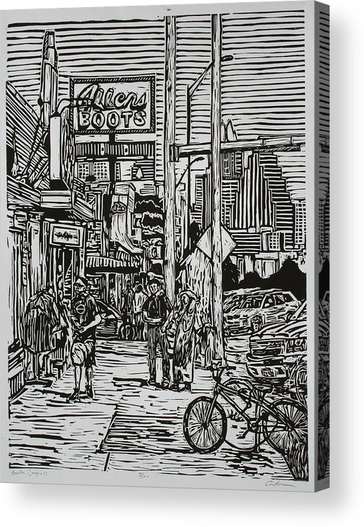 Austin Acrylic Print featuring the drawing South Congress by William Cauthern