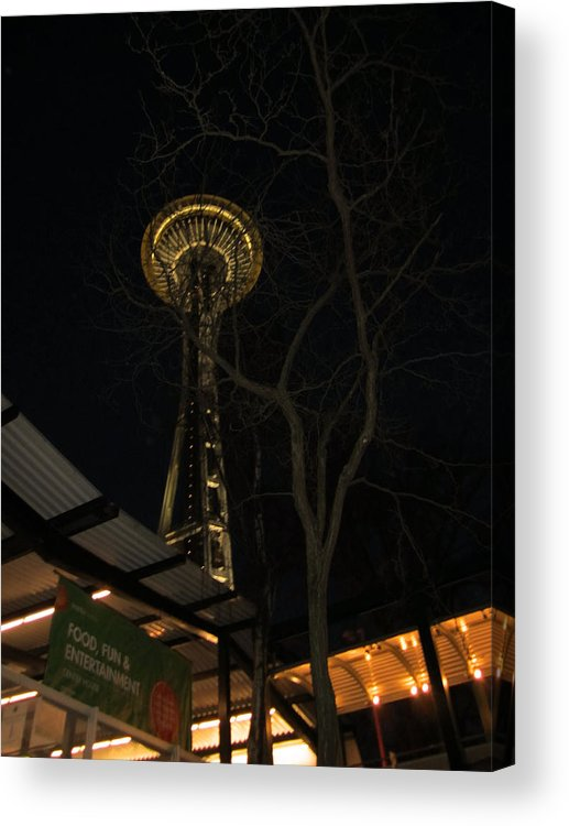 Space Needle Acrylic Print featuring the photograph Space Needle Entertainment by Kym Backland